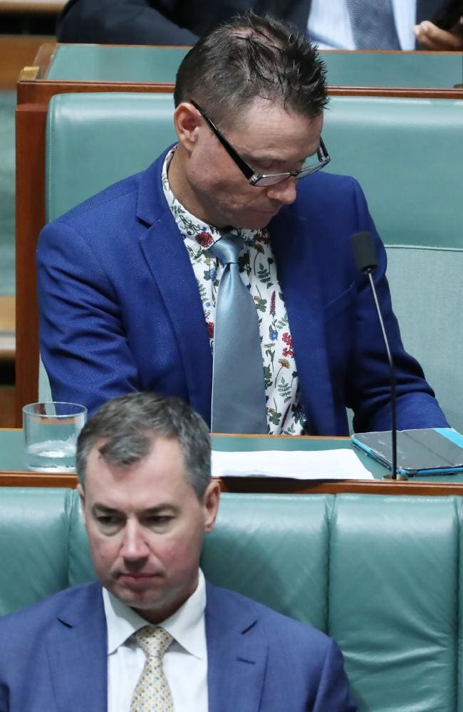 It's 1989! Liberal MP Andrew Laming wearing the floral-print shirt with a teal tie and cobalt blazer. Picture: Gary Ramage