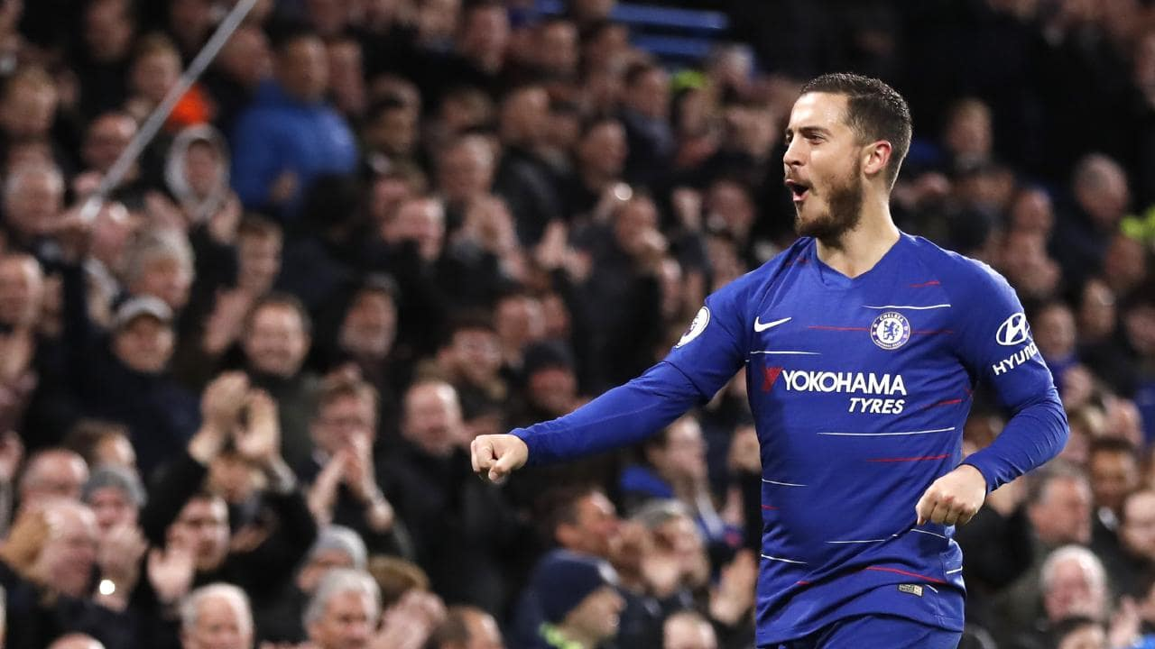 The Chelsea fans erupted when Eden Hazard struck after an hour.