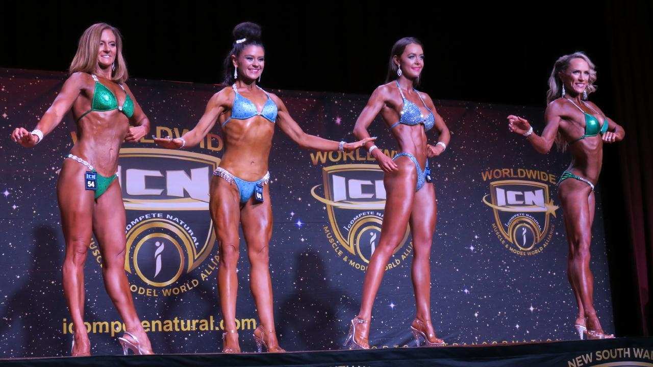 Natalie Joyce (far left) competed in the in the iComplete Natural bodybuilding competition in West New Lambton on Sunday. Picture: Ignacio Tse