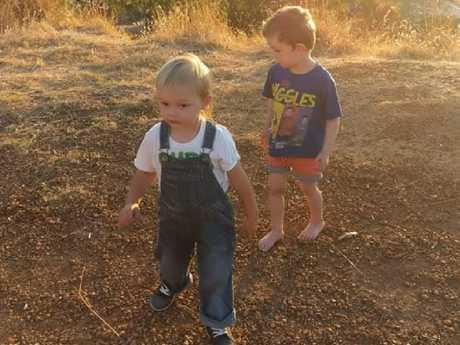 Afroditi Darwin said her boys Hunter, 3, and Xavier, 2, often get up to mischief.