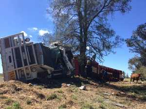 Footage from the scene of a rollover 80km north-east of Roma