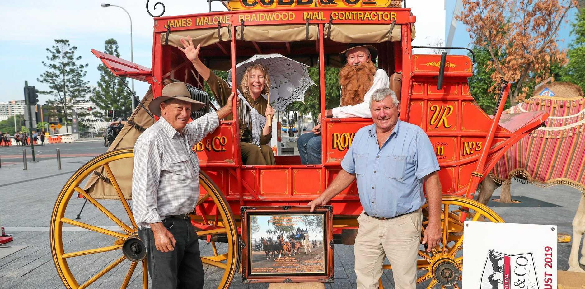 NOSTALGIA: Don Ross, Karan Hobbs, Paul Masson and Steve Ralph get ready for their Cobb & Co Coach ride.