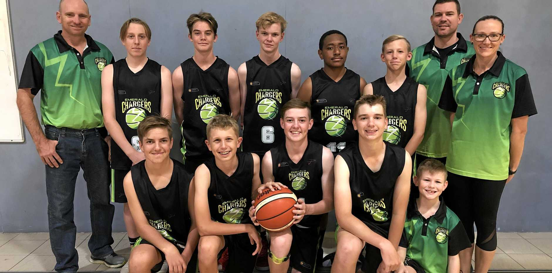 READY TO GO: Emerald Chargers under 16 boys team with assistant manager Justin Shields, coach Chris Todolak and assistant coach Aleisha Catip.