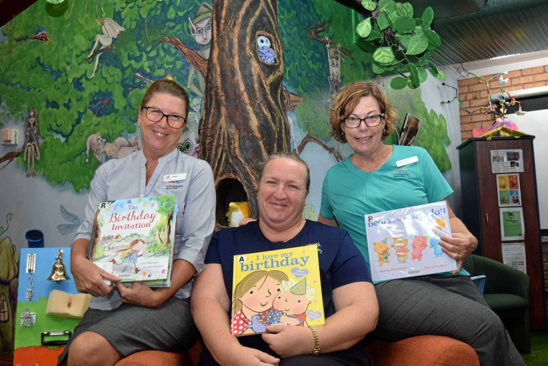 BIRTHDAY:   Library team leader Robyn Batman with staff Helan McKean and Nadine Donadelli.