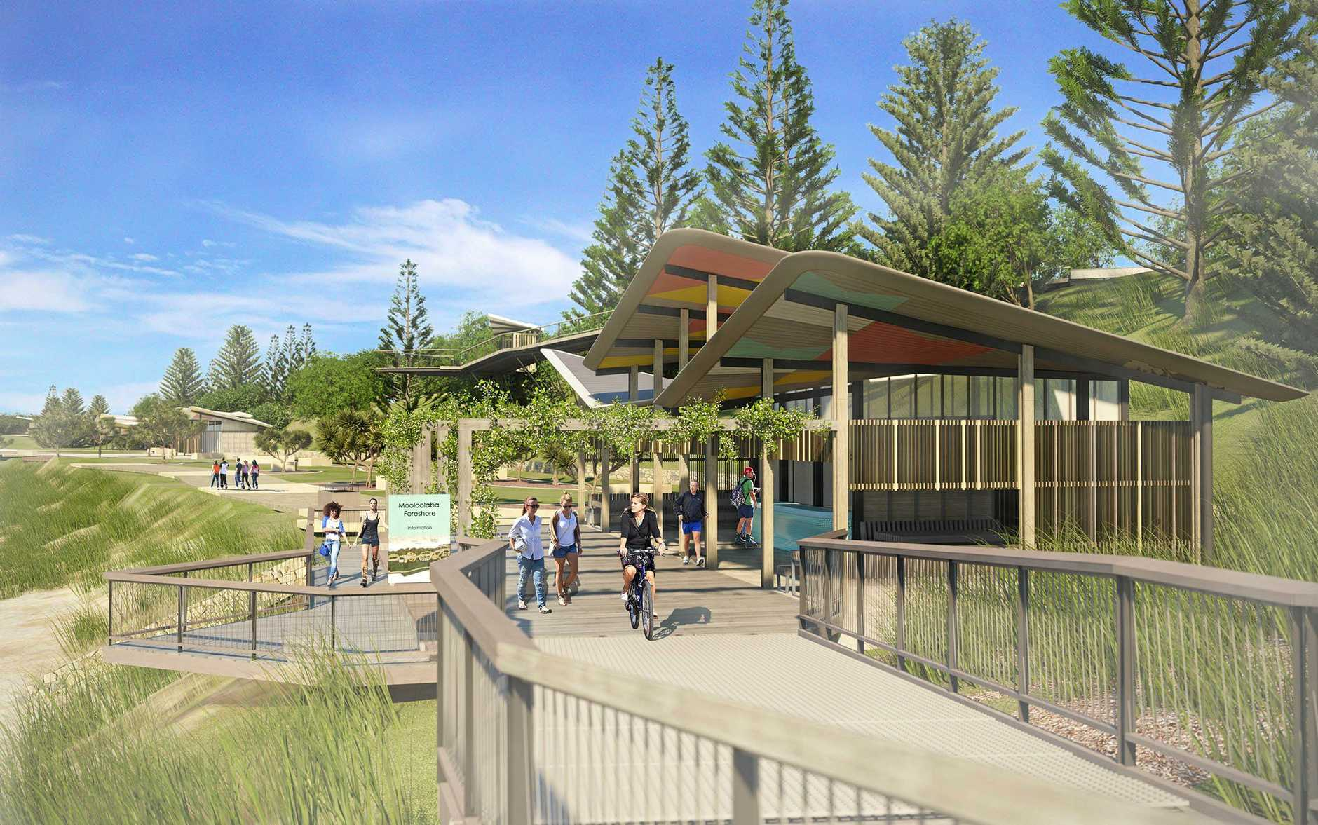 New artist impressions of the foreshore at Mooloolaba beach, released as work on the Place Making Mooloolaba Master Plan.