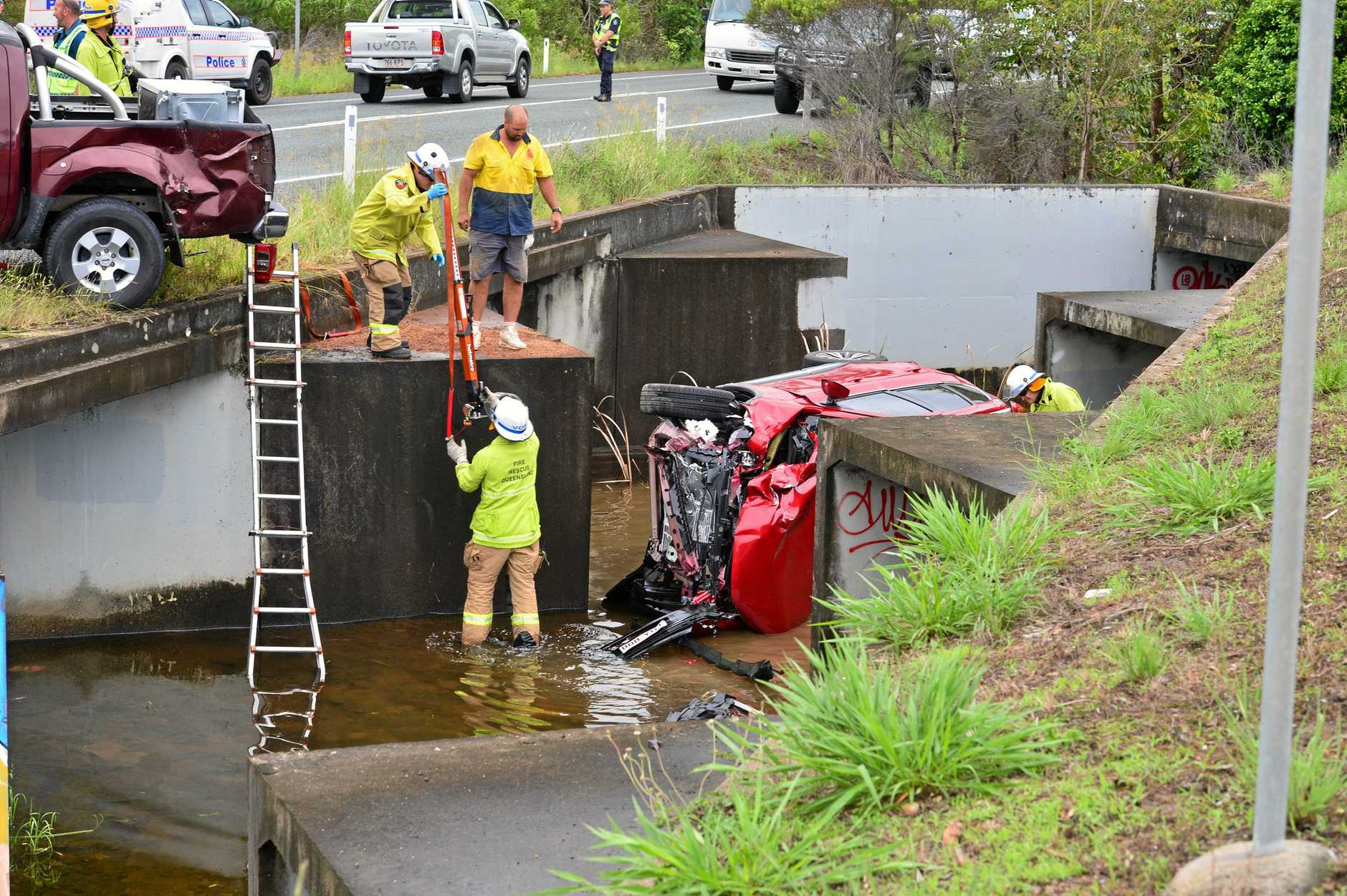 Five people were hospitalised after a crash on Yandina-Coolum Road near the Sunshine Motorway on Wednesday afternoon.