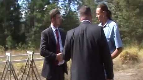 Cowan appeared baffled when approached by detectives. Picture: Queensland Police Service