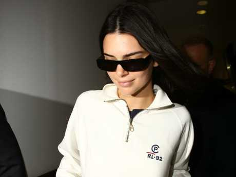 Kendall Jenner pictured on arrival into Sydney. Picture: Matrix Media Group.