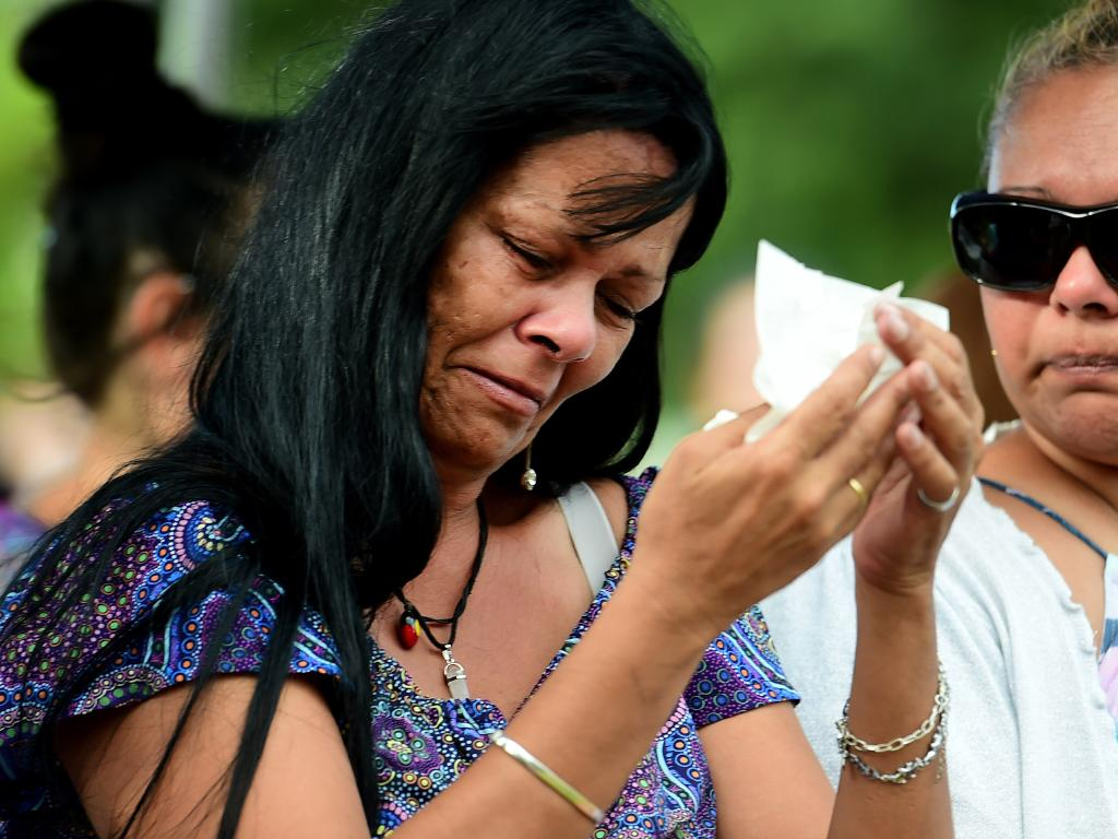 The boys' mother Leann Chyrsilla Eatts at a smoking ceremony and memorial service