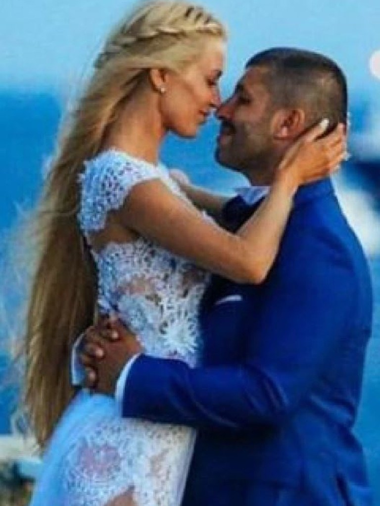 John Macris and Viktoria Karida at their 2016 wedding on the Greek island of Mykonos.  Picture:  Supplied