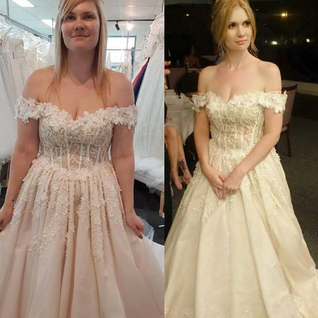 She purposely bought a size 8 wedding dress as motivation to shed the kilos.