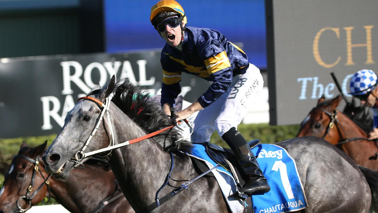 Jockey Tommy Berry won three successive TJ Smith Stakes on Chautauqua. Picture: AAP