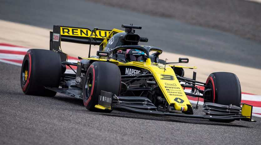 Renault's Australian driver Daniel Ricciardo steers his Formula One car during private tests at the Sakhir circuit in the desert south of the Bahraini capital Manama. (Photo by ANDREJ ISAKOVIC / AFP)