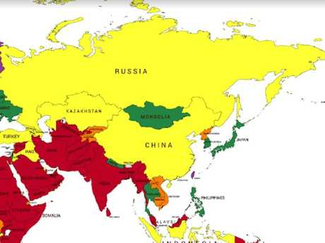 Huge parts of the world are encompassed in the yellow section of the map.
