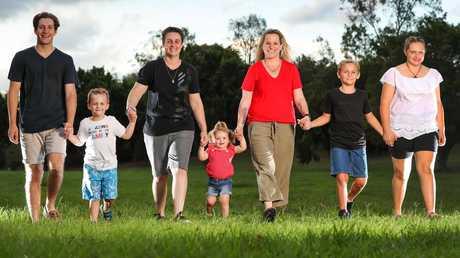 From left, Zac, 15, Caelan, 4, Lisa Quinn, Delaney, 1, Shannon Ashton, Mackie, 8, and Darcy, 13. Picture: Nigel Hallett