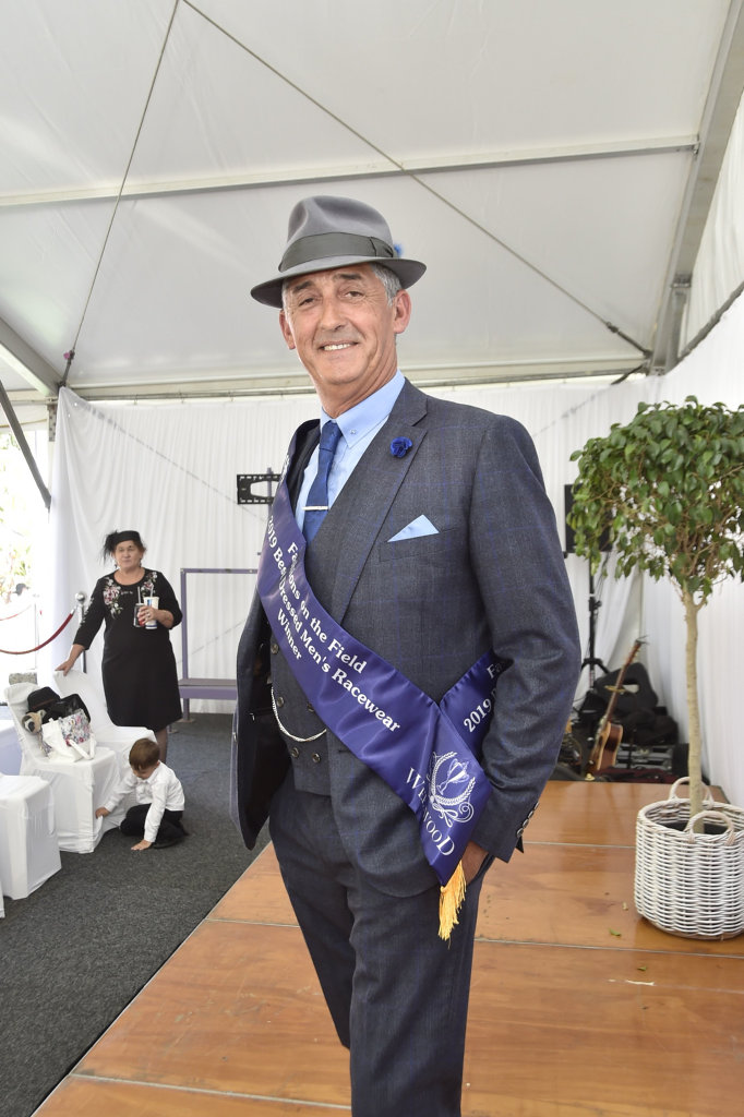 Gordon Cooper won the berst dressed male. Fashion of the Field at Clifford Park 2019 Weetwood race day. April 2019