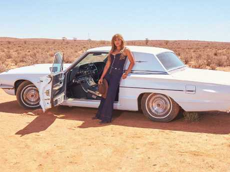 Mauboy on the set of her Sunday music video shoot in Broken Hill. Picture: Supplied / Sony.