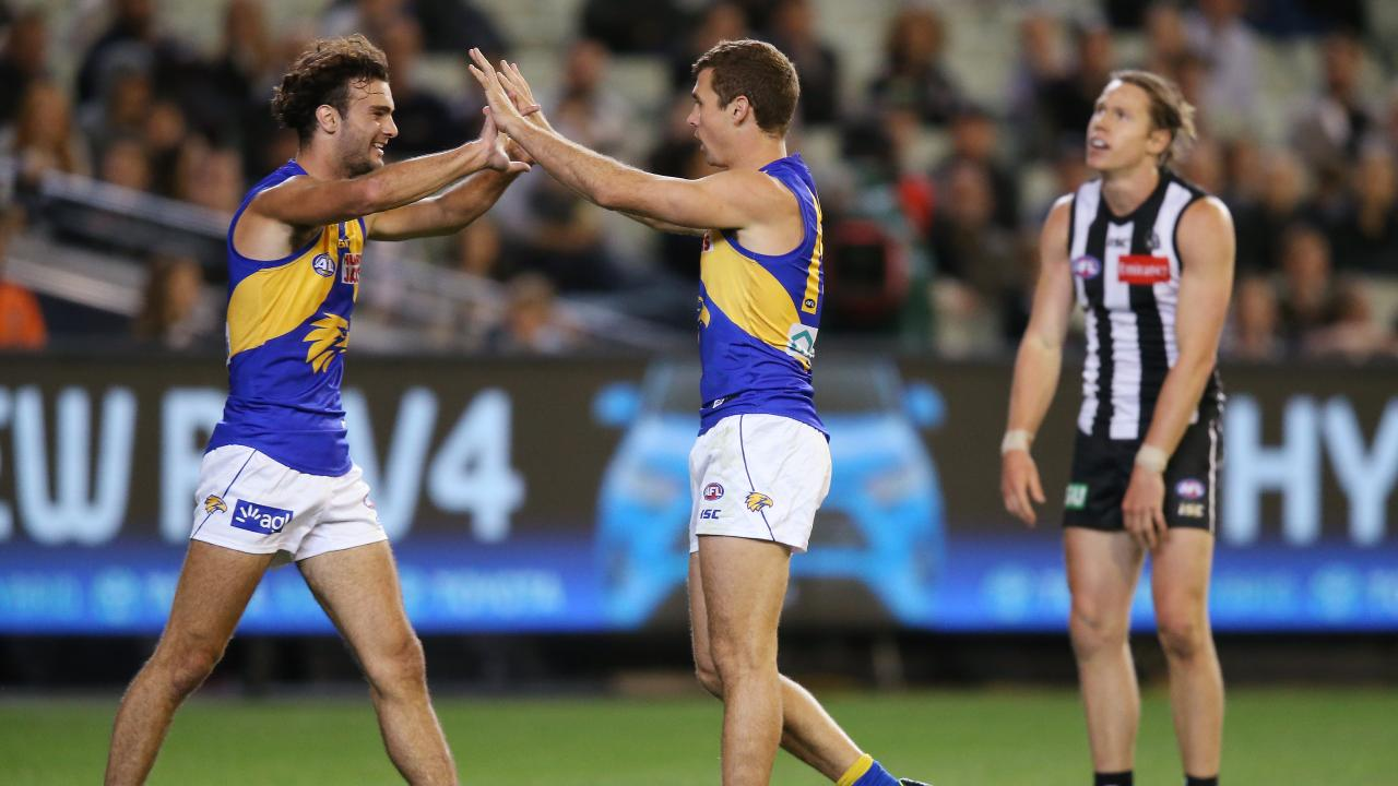 Jack Petruccelle congratulates Jamie Cripps after his goal. Pic: Getty Images