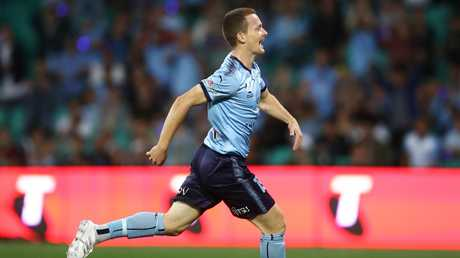 Sydney FC's Brandon O'Neill celebrates his first-half goal against Melbourne Victory on Saturday night. Picture: AAP