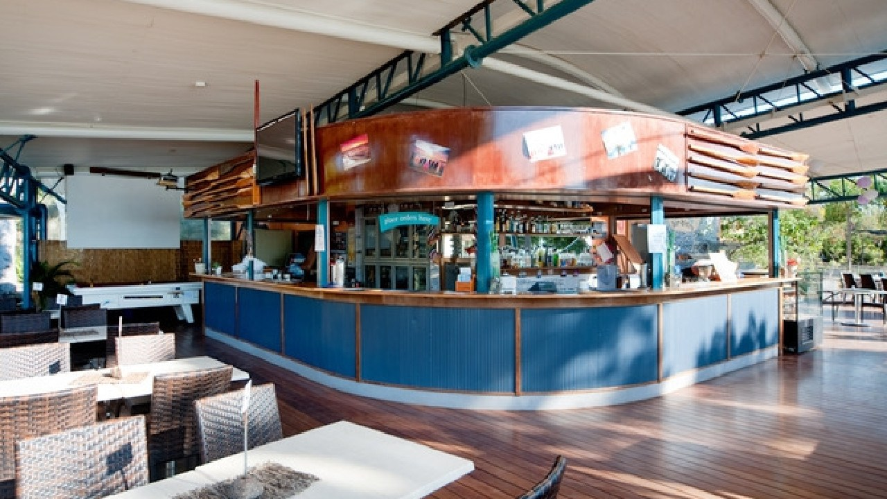 The restaurant/bar at the Cape Gloucester Beach Resort
