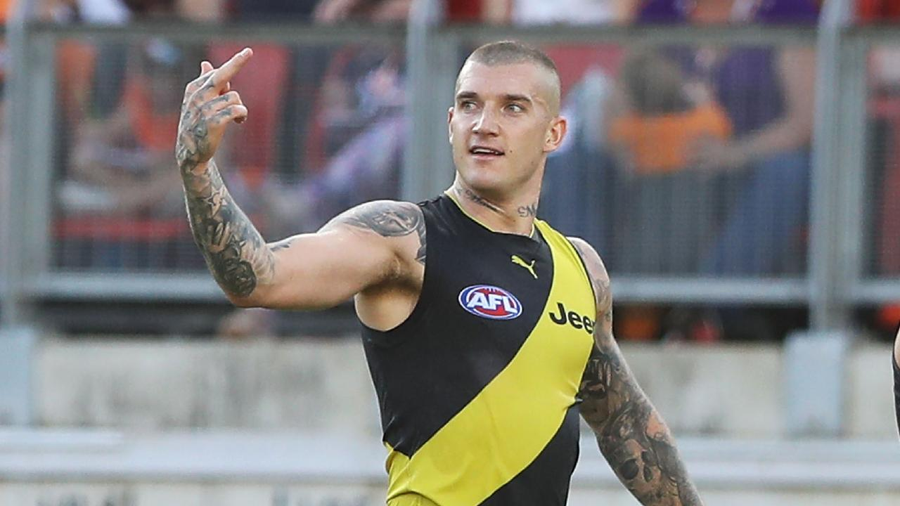 Dustin Martin gestures to an opponent during the Tigers' clash. Pic: Getty Images