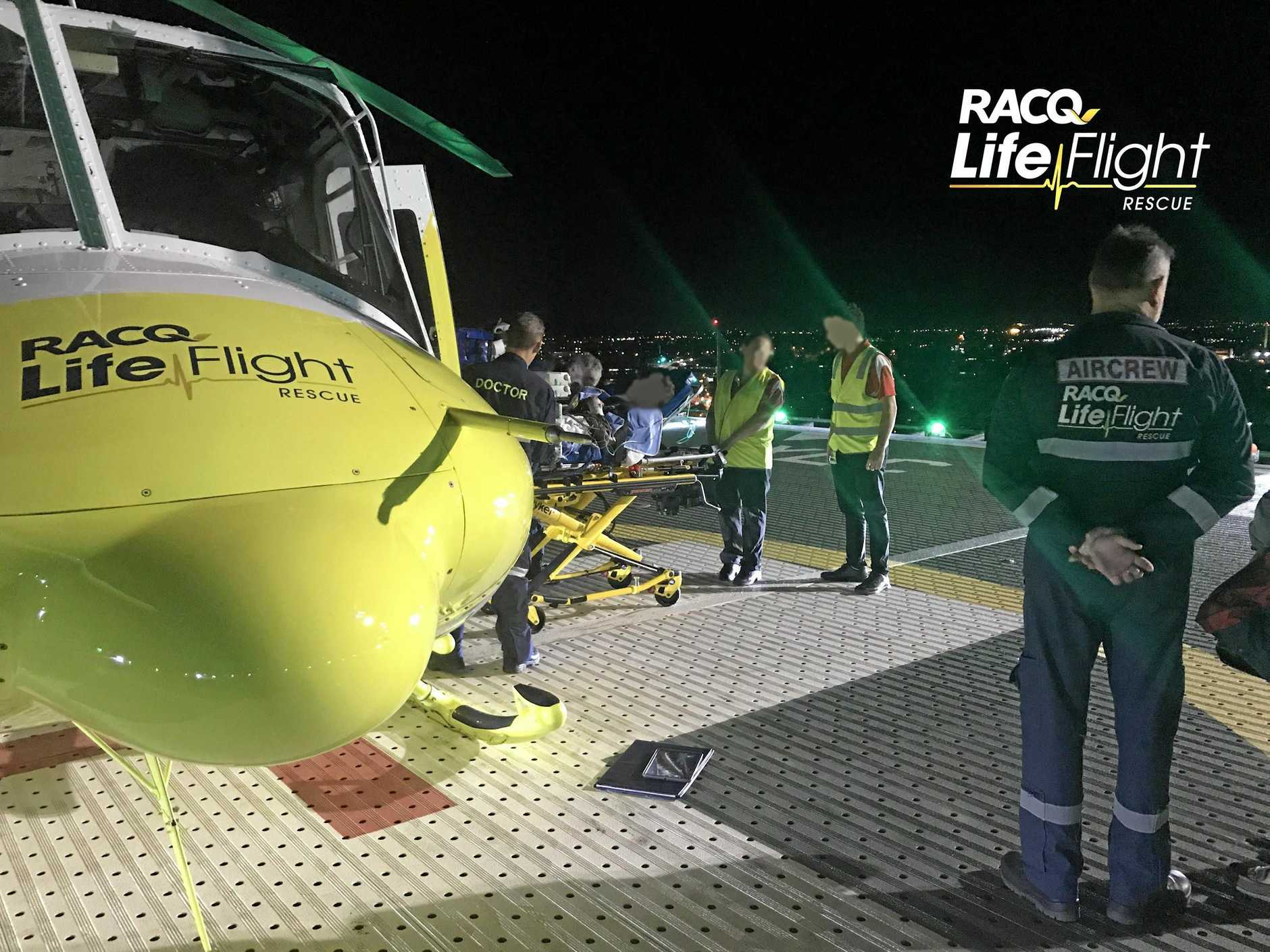 A teenager was airlifted by RACQ LifeFlight helicopter to hospital after a farming accident near Kilcoy.