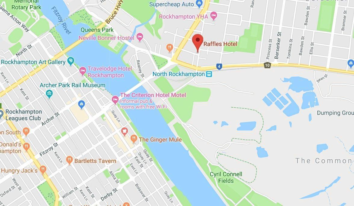 ROBBERY LOCATION: Raffles Hotel in Berserker was robbed by a man wielding a tomahawk last night.