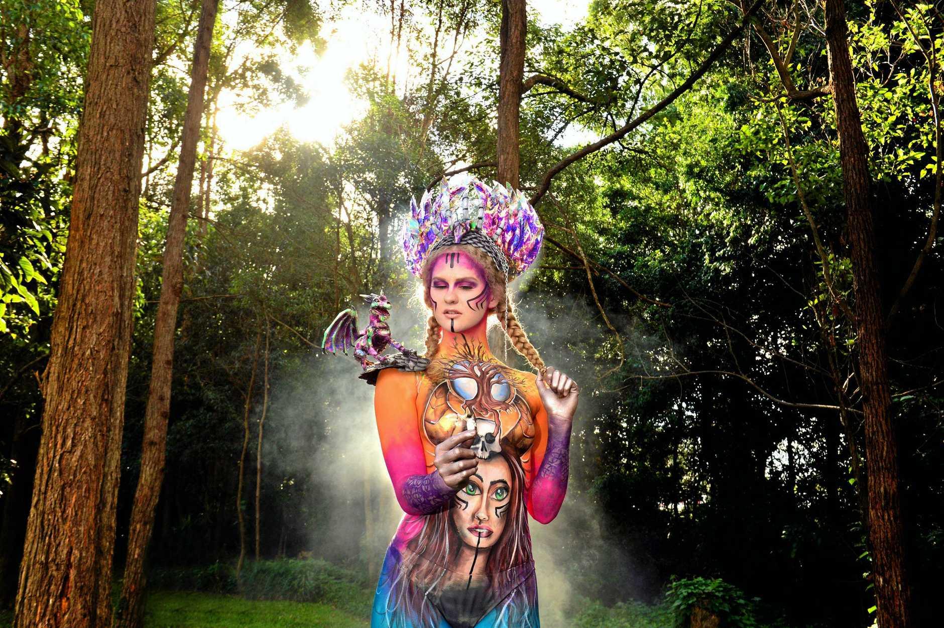 Rebecca Egan models a sci-fi piece.