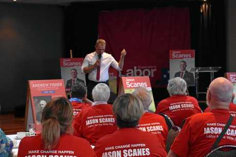 ALP candidate for Wide Bay Jason Scanes makes his point to more than 70 supporters, including family and campaign volunteers, at Gympie RSL Club.