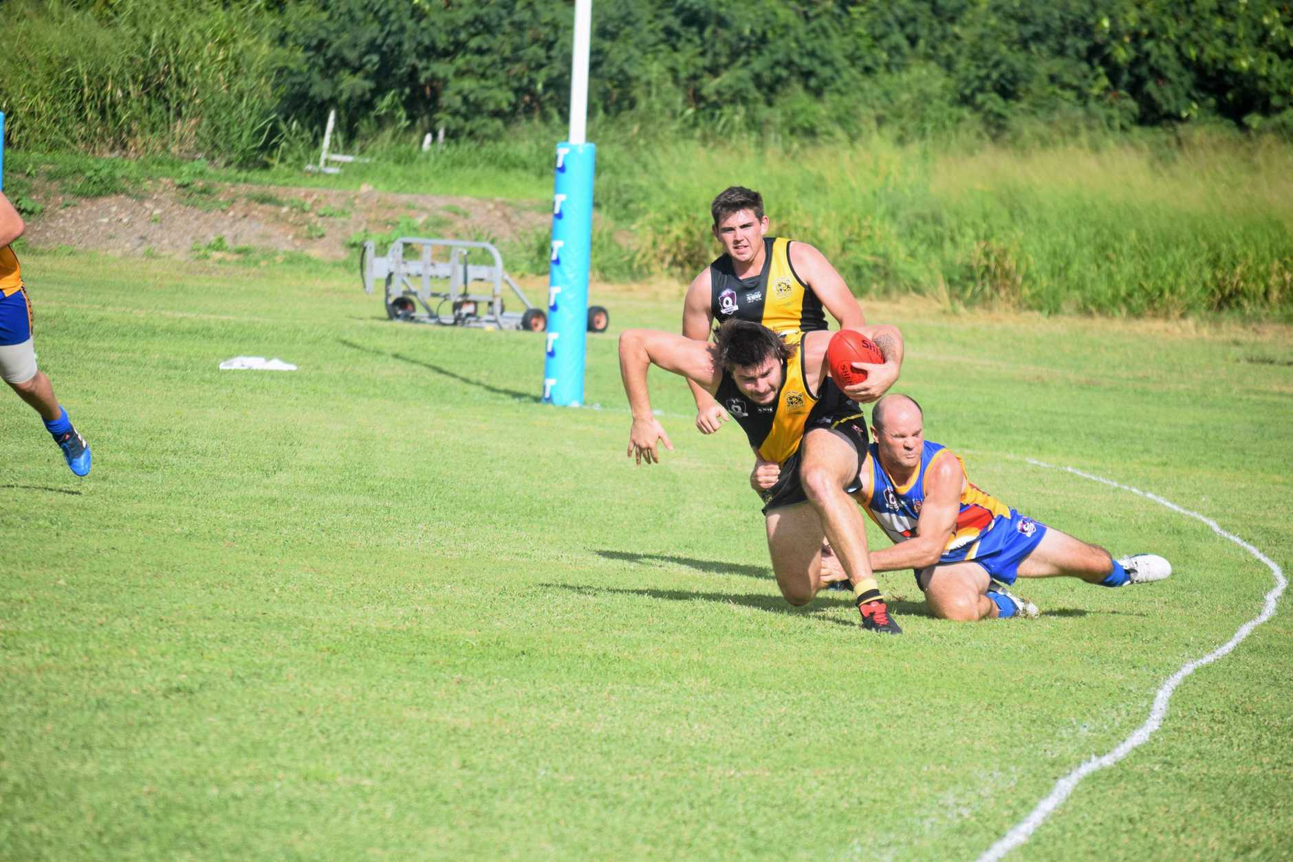Whitsunday Sea Eagle Chris Morrison brought down Bakers Creek Tigers ace Jordan Cullen with a brilliant tackle on Saturday.