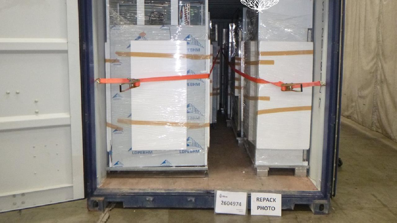 538kg of ice was found crudely hidden in fridges in a container from Singapore.
