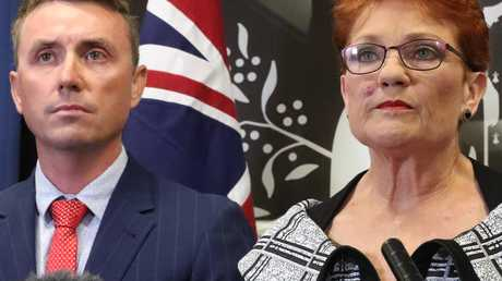 Pauline Hanson, with James Ashby by her side. Picture: Liam Kidston