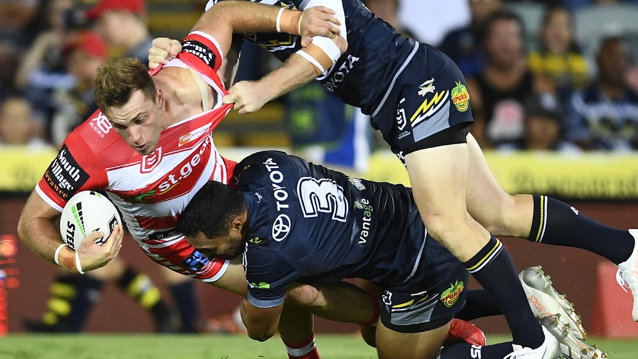 Jacob Host on the charge for the Dragons against the Cowboys. Picture: Getty Images