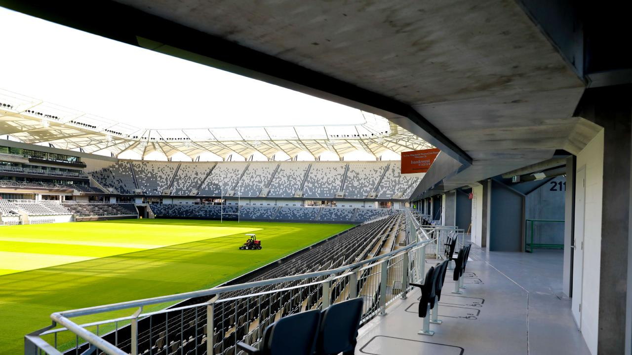 Bankwest Stadium is ready to go and should be easy for fans to get to under government plans to make public transport free for ticket-holders. Picture: AAP