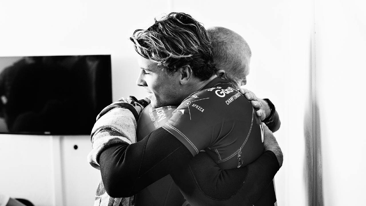 Wilson hugs Fanning once they're out of the water. (Picture: Supplied)