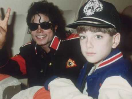 Michael Jackson and James Safechuck in the star's private plane. Picture: Supplied