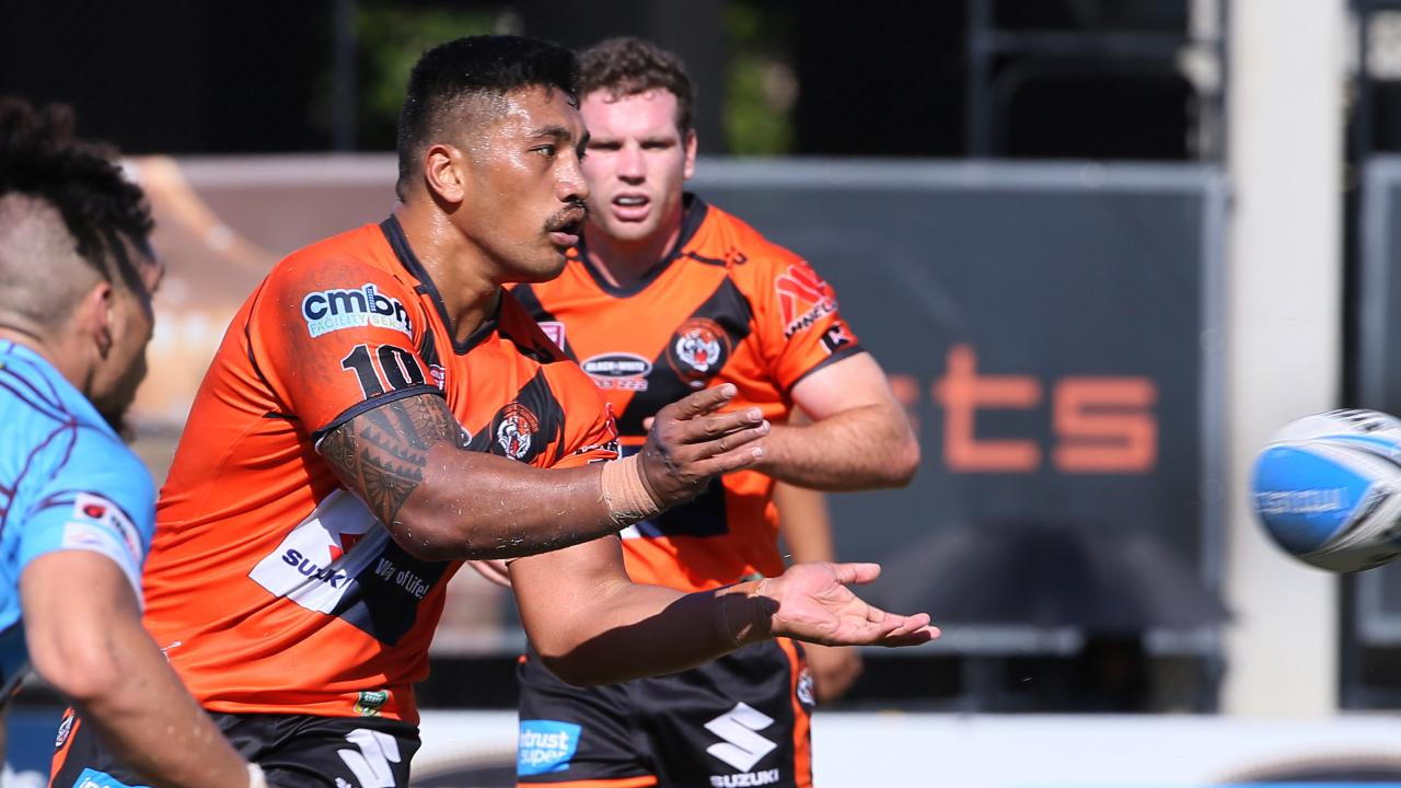 Albert Vete scored three tries in Easts Tigers' big win over CQ Capras. Picture: Richard Waugh