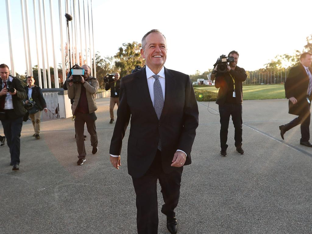 Opposition Leader Bill Shorten after appearing on morning TV out the front of Parliament House in Canberra last week. Picture Kym Smith