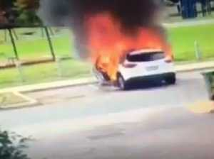 Mum saves kids from exploding car