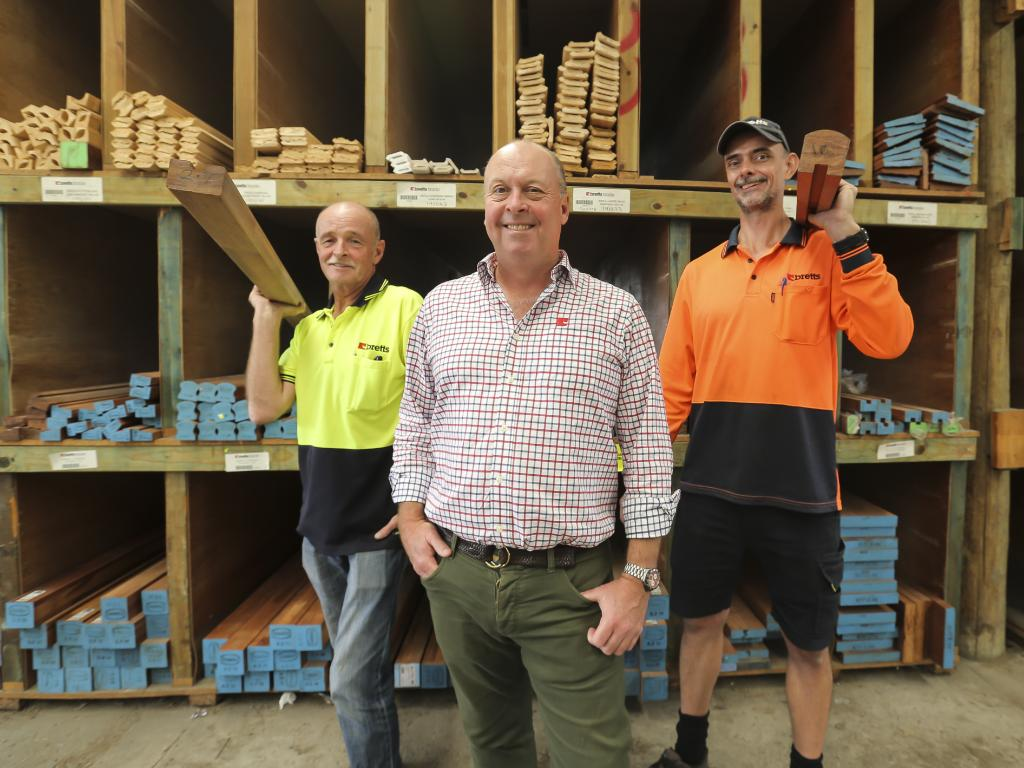 Bretts CEO Bill Nutting, at the Bretts Geebung timber yard with workers Doug Carroll (left) and Matt Hubbard. Picture: Mark Cranitch