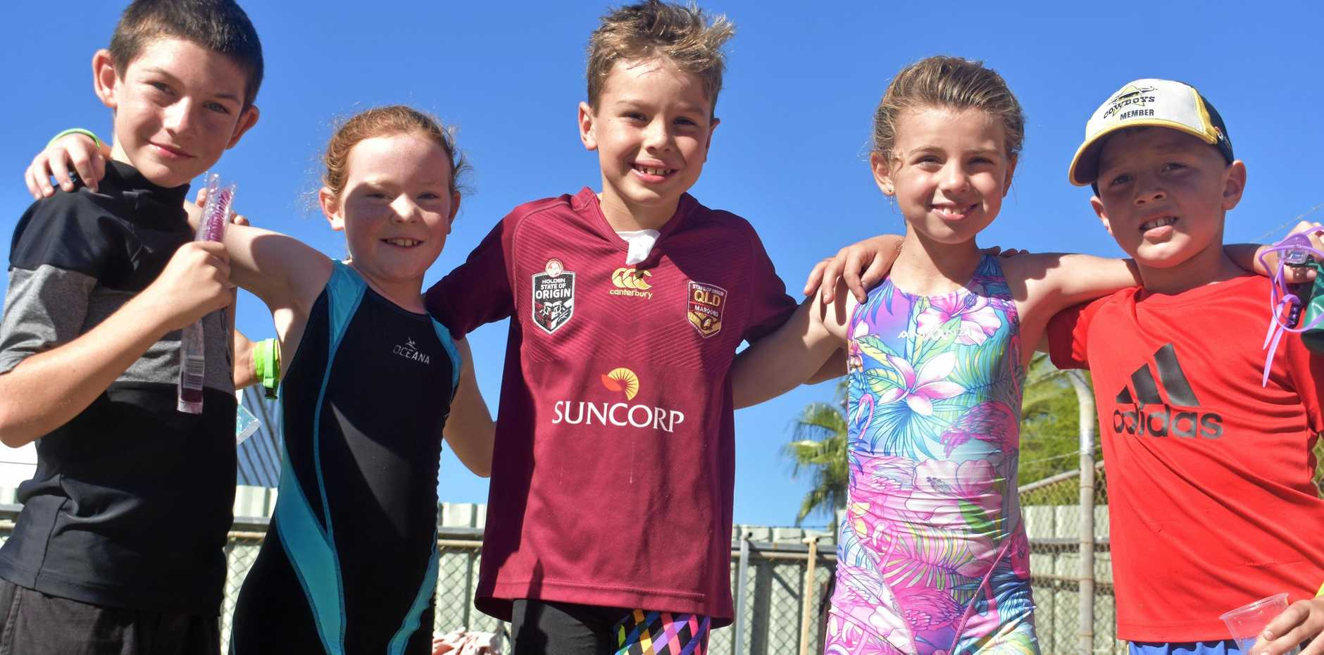 TRI AND SUCCEED: Jarred Addy, Grace Pollock, Hamish Taylor, Kelcee Harvey and Archie Waldron after their junior triathlon in Roma on Saturday, April 6.