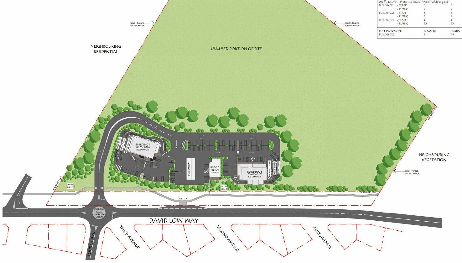 Artist's impressions show plans for a service station on David Low Way at Marcoola.