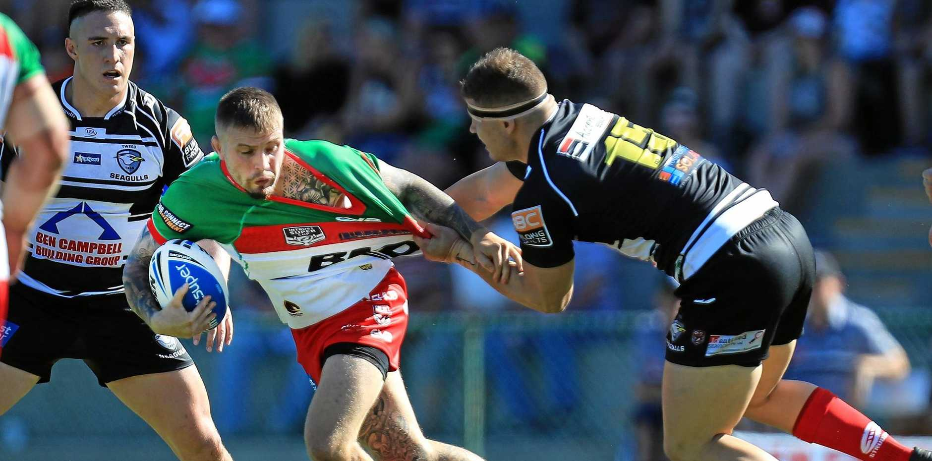 Wynnum-Manly Seagulls player Jayden Berrell with the ball in his side's win over Tweed.