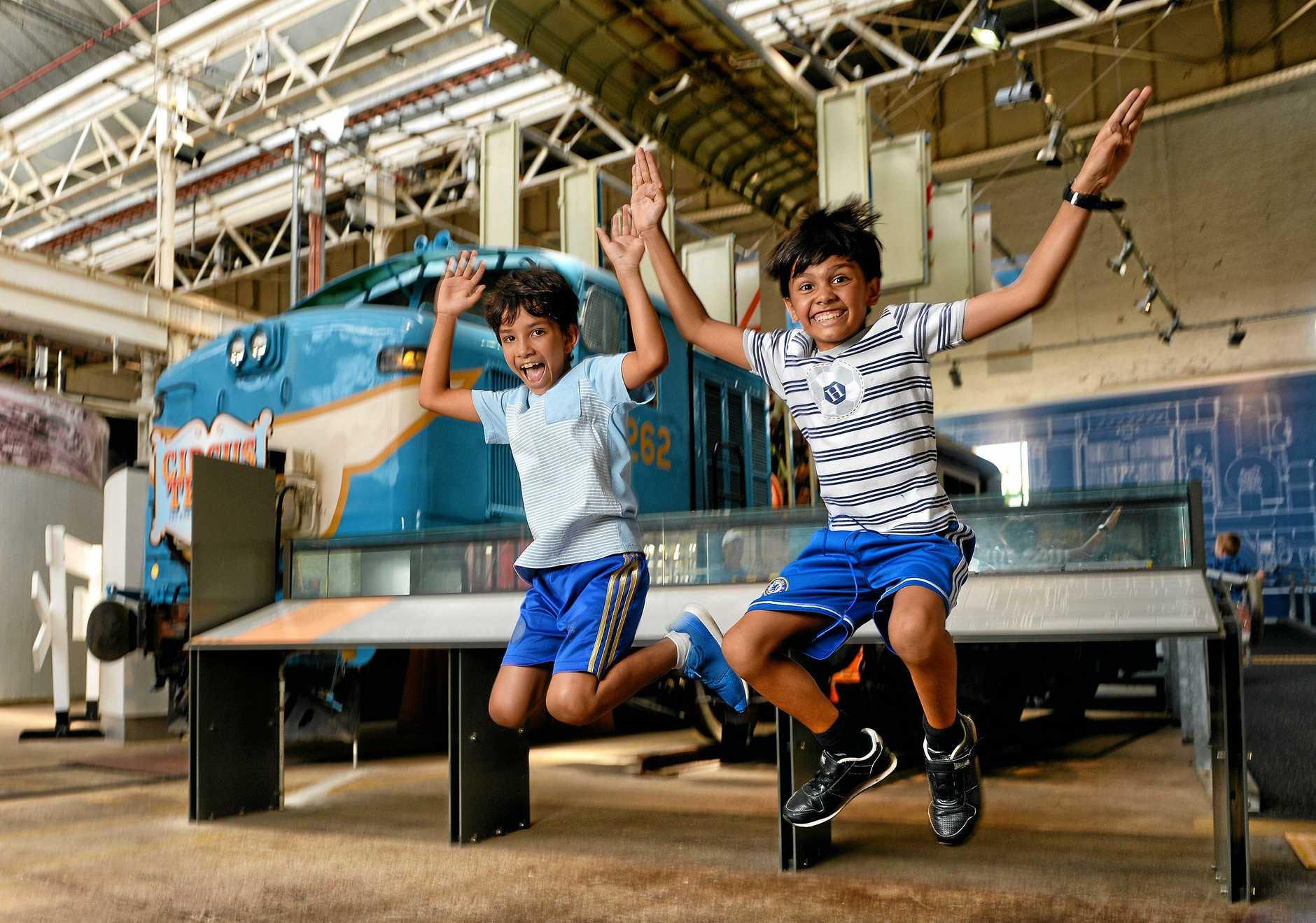 Ravi and Jai Robinson at the Workshops Rail Museum.