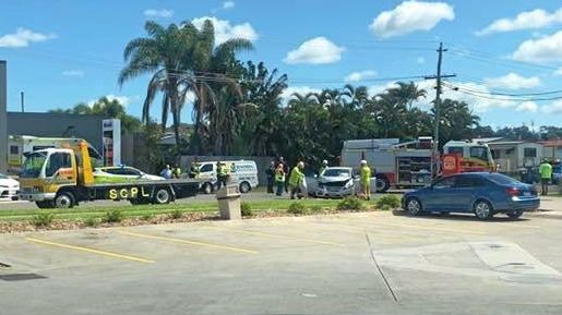 Two people are being assessed after a two-vehicle crash at Caloundra West this morning.