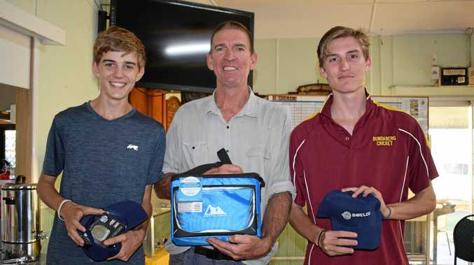 GOLF IS FOR THE BOYS: The Bidgood men at the Miles Golf Club Beyond Blue charity day.