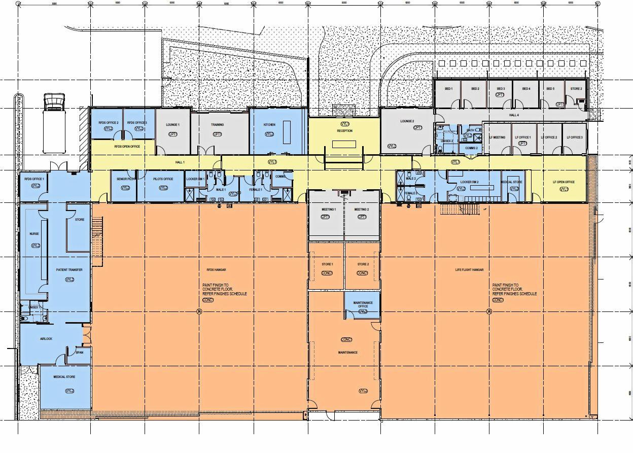 Floor plans for new Royal Flying Doctor Service (Queensland Section) and RACQ LifeFlight Rescue aeromedical base.