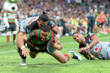 SPORT - NRL Round 13, South Sydney Rabbitohs vs New Zealand Warriors at nib Stadium, Perth. Photo by Daniel Wilkins. PICTURED - South's Dylan Walker scores a try in the second half