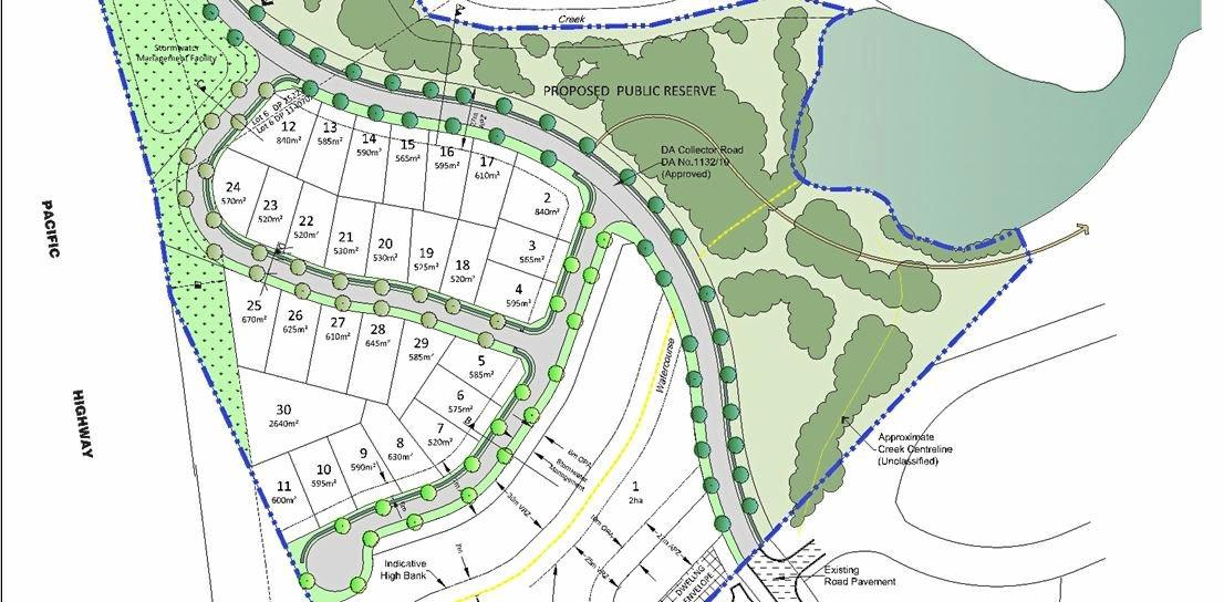 The development site is bordered by the Pacific Highway to the west and Moonee Creek to the east.