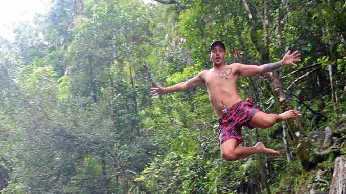 READY FOR ADVENTURE: Backpacker Martin Mare at Finch Hatton Gorge.